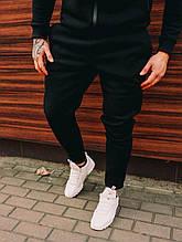 Мужские спортивные штаны трехнитка на флисе - черные, серый, темно серые
