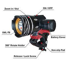 Велосипедный светодиодный фонарь NEWBOLER 5000 мАч LED XML-T6, фото 3