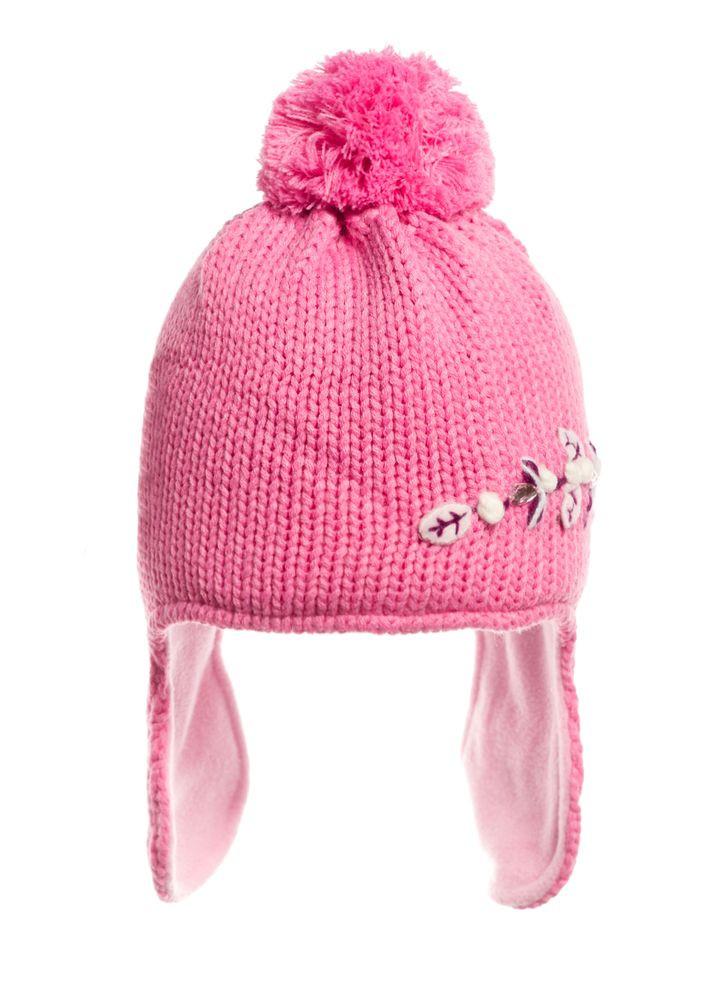 Детская красивая стильная вязаная шапочка на флисе.