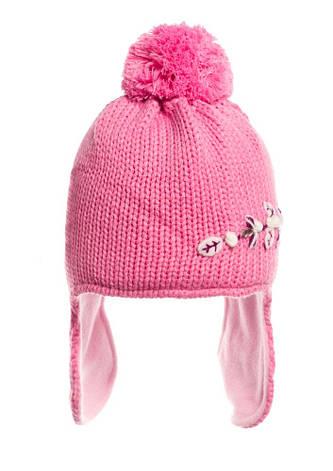Детская красивая стильная вязаная шапочка на флисе., фото 2