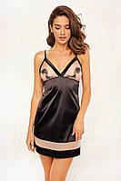 Сорочка-плаття жіноче у чорно-бежевому кольорі. ТМ Anabel Arto. 42. 44. 46
