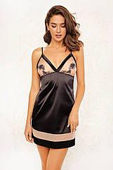 Сорочка-плаття жіноче у чорно-бежевому кольорі. ТМ Anabel Arto. 42. 44.