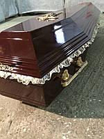 Гроб - лакированный шестигранник (цвет шоколад) МДФ, сайт  Orfey1.com