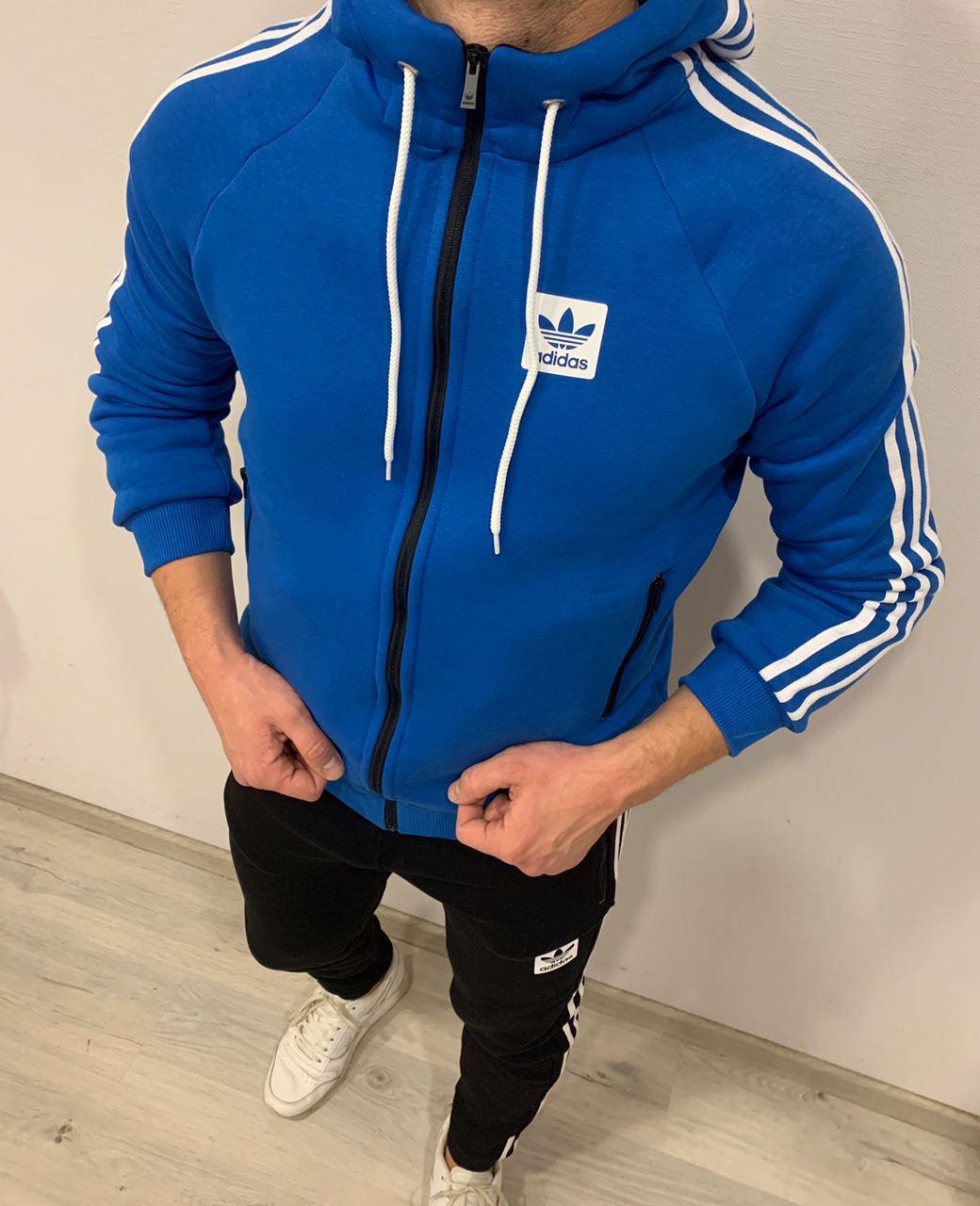 Теплый мужской спортивный костюм Adidas Striped (только размер S)