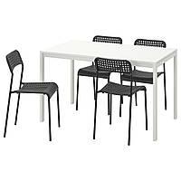 Стол и 4 стула набор IKEA, кухонные мебли пластиковые, 125 см, белый, черный
