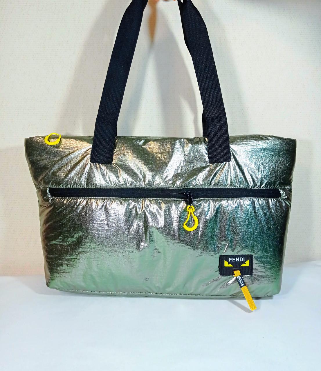 Дута сумка шопер-пуховик хакі сріблястий