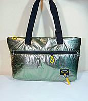 Дута сумка шопер-пуховик хакі сріблястий, фото 1