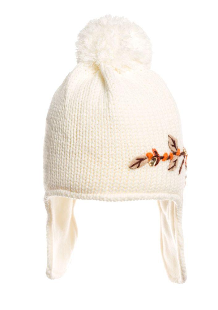 Детская нарядная оригинальная вязаная шапочка