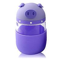 Кружка из стекла в силиконовой защите с крышкой и ремешком Piggy фиолетовая - Акция