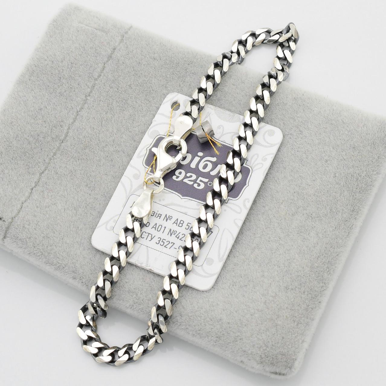 Серебряный браслет с чернением Панцирная скруглённая длина 22 см ширина 4 мм вес серебра 6.2 г