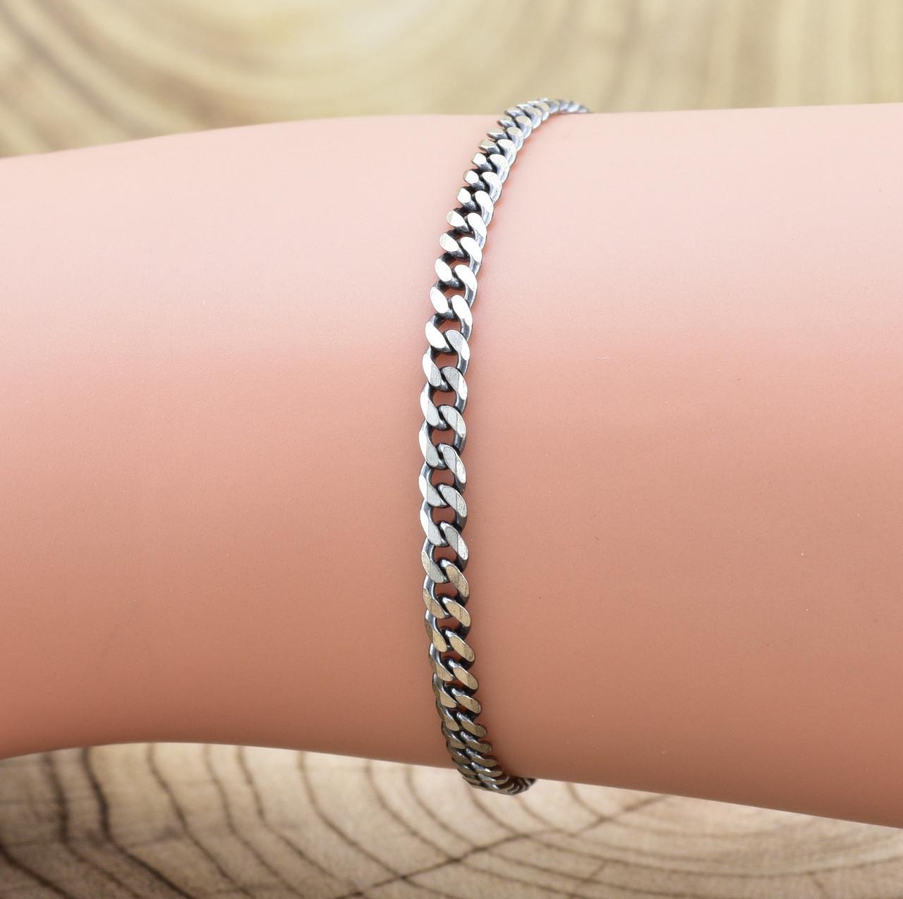 Серебряный браслет с чернением Панцирный скруглённый длина 17 см ширина 3 мм вес серебра 2.2 г