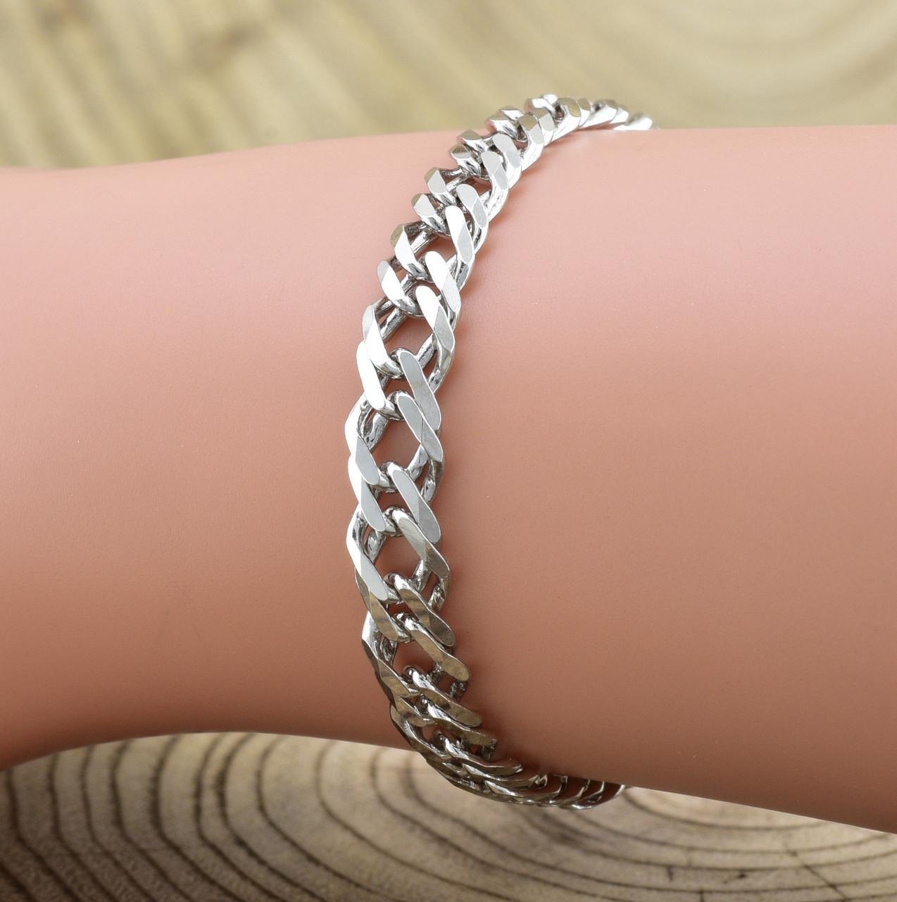 Серебряный браслет родированный Ромбик скруглённый длина 24 см ширина 6 мм вес серебра 9.6 г
