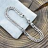 Серебряный браслет родированный Ромбик скруглённый длина 24 см ширина 6 мм вес серебра 9.6 г, фото 2