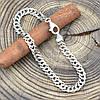 Серебряный браслет родированный Ромбик скруглённый длина 24 см ширина 6 мм вес серебра 9.6 г, фото 3