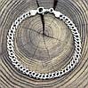 Серебряный браслет родированный Ромбик скруглённый длина 24 см ширина 6 мм вес серебра 9.6 г, фото 4