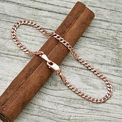 Серебряный браслет позолоченный Панцирный скруглённый ширина 2.5 мм  длина 19