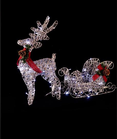 Новогодний светящийся Олень с санями серебряный 70 см