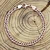 """Серебряный браслет позолоченный """"Ромбик скруглённый"""", длина 22 см, ширина 6 мм, вес 9.1 г, фото 2"""