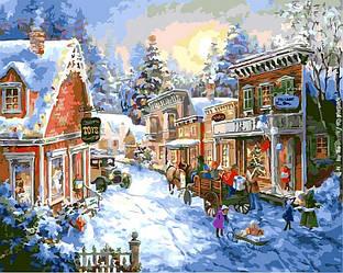 Картина по номерам Новогодние сюжеты Зимний пейзаж В преддверии Рождества 40х50см Babylon Turbo