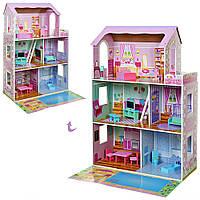 Кукольный домик (116 см) с мебелью Bambi MD 2670 | Деревянный 3х этажный домик для кукол (обзор 240)