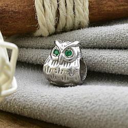 Срібний шарм Сова розмір 11х9 мм вставка зелені фіаніти вага 2.70 г