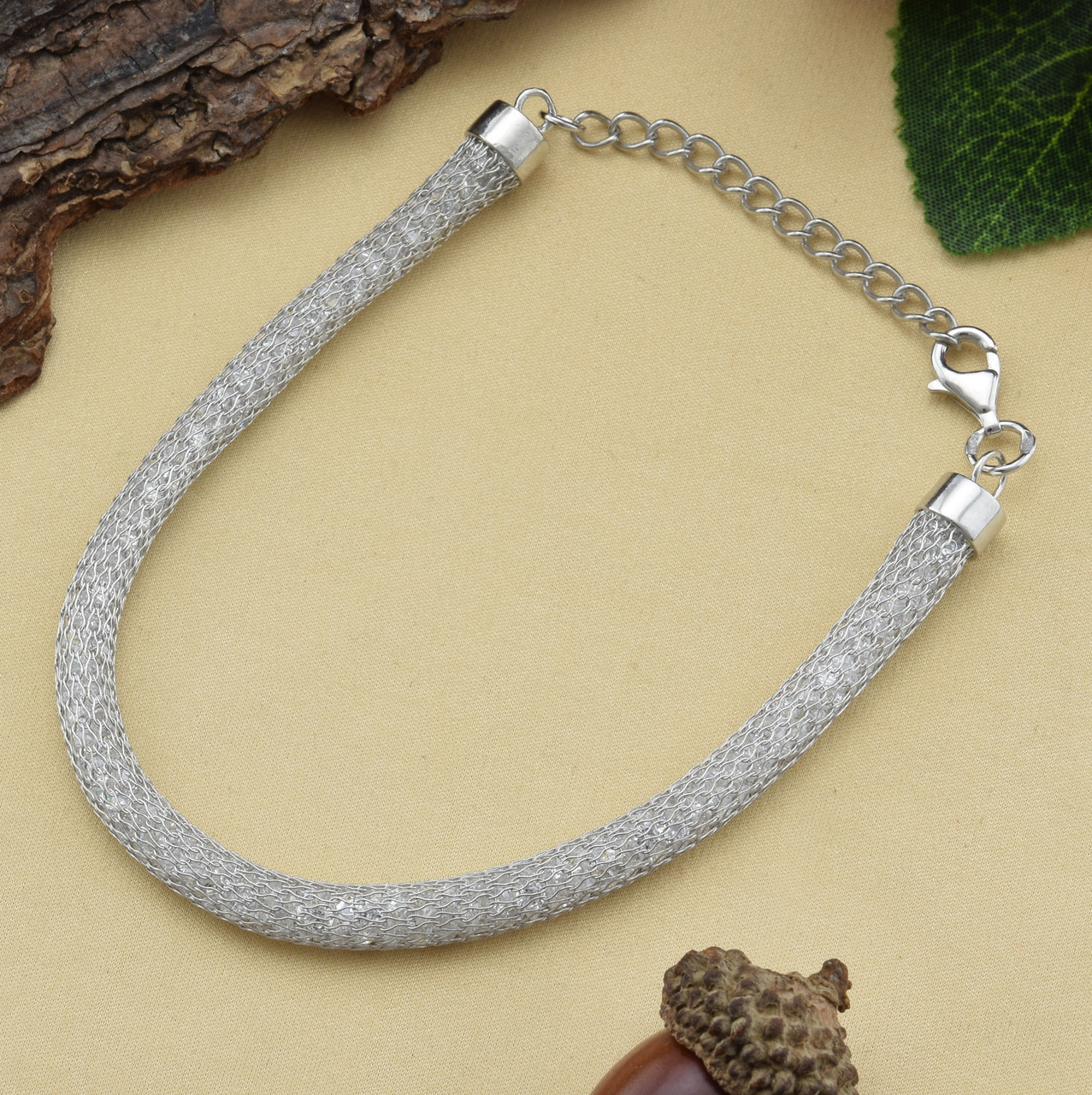 Серебряный браслет родированный регулируемый длина 18-23 см ширина 6 мм вес 16 г