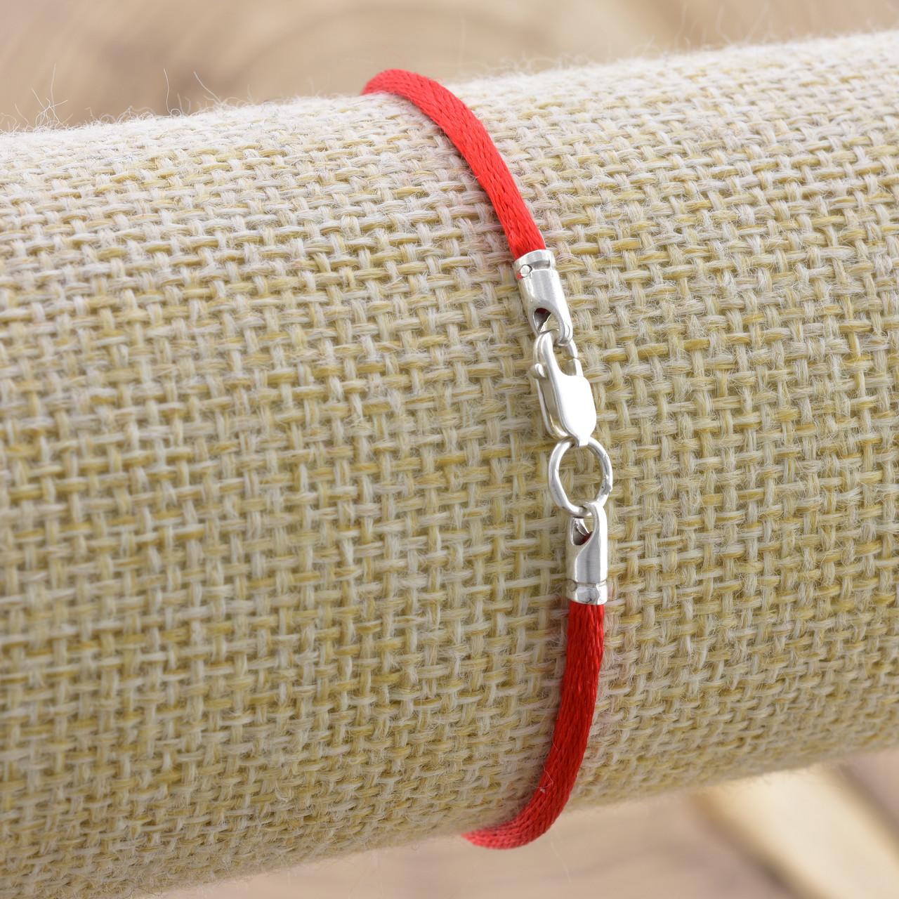 Серебряный оберег Красная нить длина 19 см ширина 2 мм вес 0.7 г