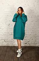 Платье теплое трикотажное Alana морская волна (536)