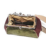 Сумка ридикюль, цвет зеленая оливка/бордо/тауп, фото 5
