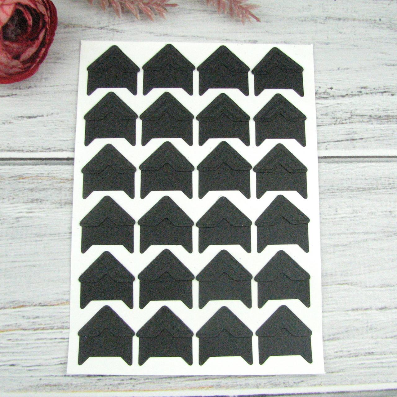 Уголки для фотографий Черные самоклеющиеся на листе 24 уголков