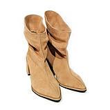 Ботинки со свободным голенищем-гармошкой, каблук 6см, цвет золотистый беж, фото 3