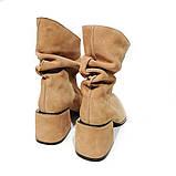 Ботинки со свободным голенищем-гармошкой, каблук 6см, цвет золотистый беж, фото 4