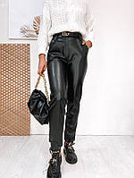 Черные женские  брюки из эко-кожи N198