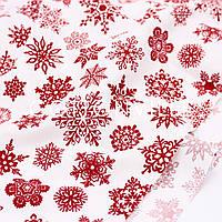 Влагоотталкивающая панама Снежинки красные на белом, фото 1