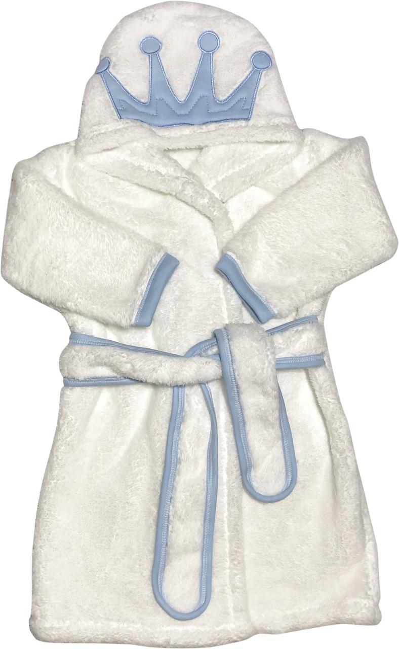 Детский тёплый банный халат на мальчика рост 92 1,5-2 года для малышей махровый с капюшоном белый