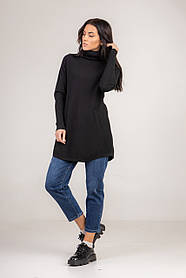 Базовый однотонный черный свитер-туника с высокой горловиной  в размере S/M и L/XL.
