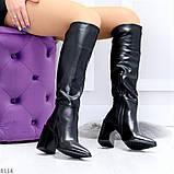 Модельные черные женские сапоги на флисе удобный высокий каблук, фото 8