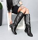 Зимние женские черные сапоги трубы, натуральная кожа, фото 5