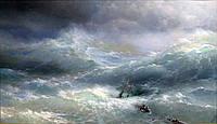 Картина Айвазовского И.К. Волна репродукция на натуральном холсте Артприз 25х40см (A25401), фото 1