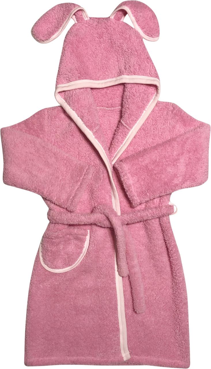 Дитячий теплий банний халат на дівчинку ріст 104 3-4 роки для дітей махровий з капюшоном вушками рожевий