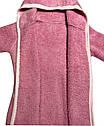 Дитячий теплий банний халат на дівчинку ріст 104 3-4 роки для дітей махровий з капюшоном вушками рожевий, фото 3