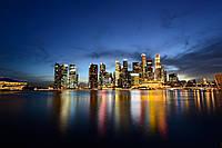 Картина Ночной город на воде на натуральном холсте Артприз 20х30см (НГ1/2030/25), фото 1