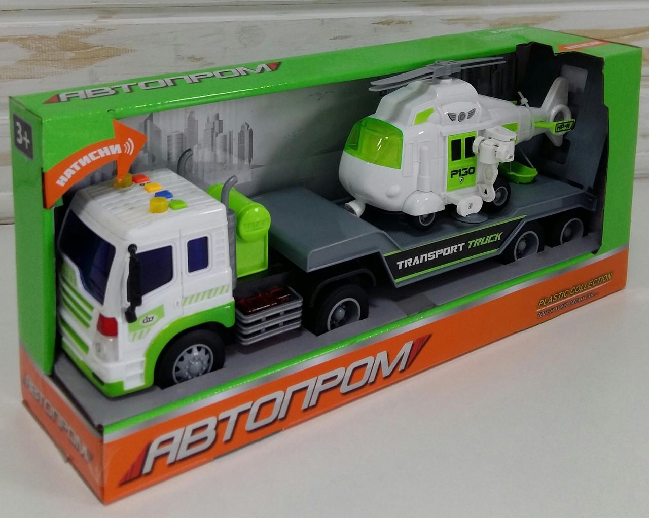 Игрушка АВТОПРОМ Автовоз Трейлер с вертолетом, масштаб 1:16, свет, звук, машинка фура инерционная 7919АВ