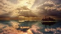 Картина Остров в облаках на натуральном дереве Артприз 30х50см (КДГР14/3050/65)