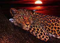 Картина Леопард на дереве на натуральном дереве Артприз 20х30см (КДДКШ13/2030/86), фото 1