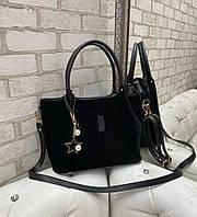 Большая замшевая черная женская сумка на плечо шоппер натуральная замша+экокожа