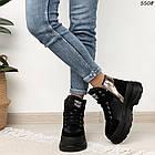 Зимние женские черные ботинки, экокожа, фото 2