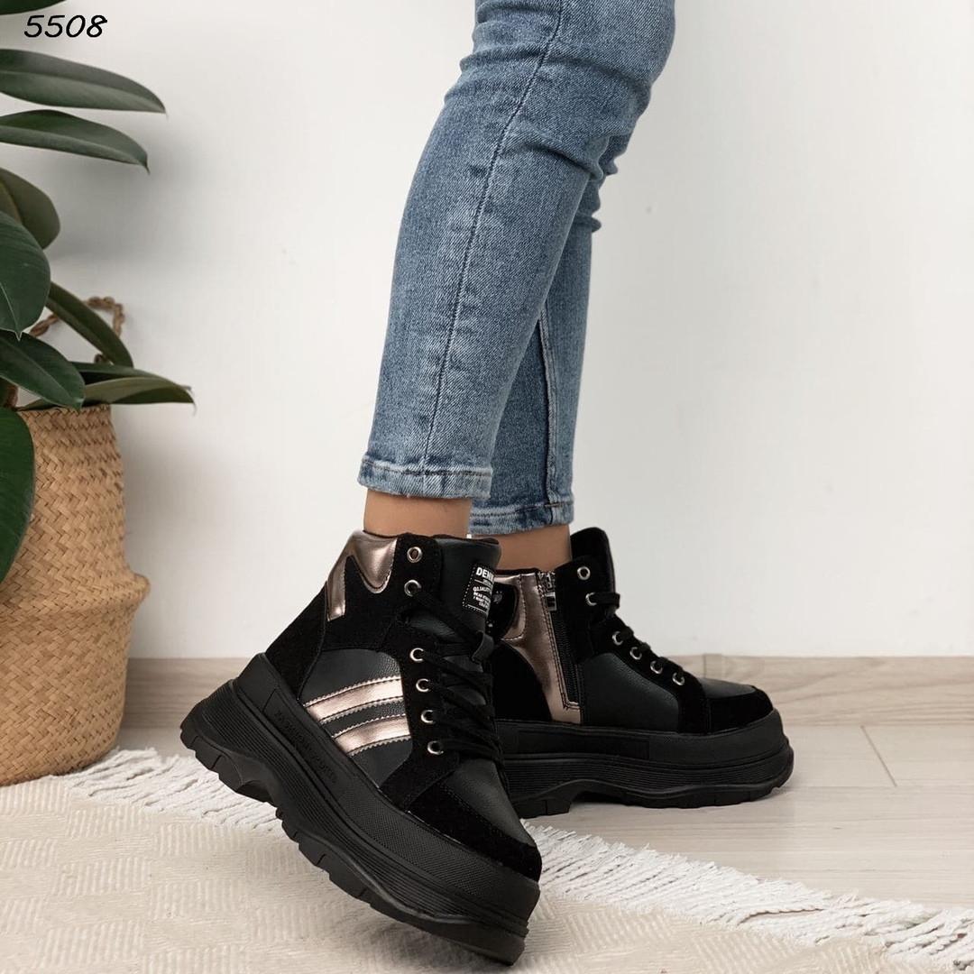 Зимние женские черные ботинки, экокожа