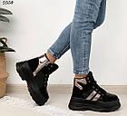 Зимние женские черные ботинки, экокожа, фото 3