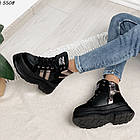 Зимние женские черные ботинки, экокожа, фото 8